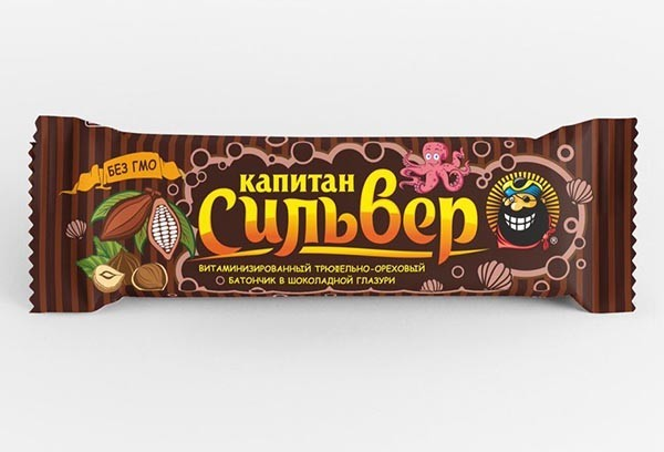 Батончик Капитан Сильвер трюфельно-ореховый в шоколадной глазури 50г