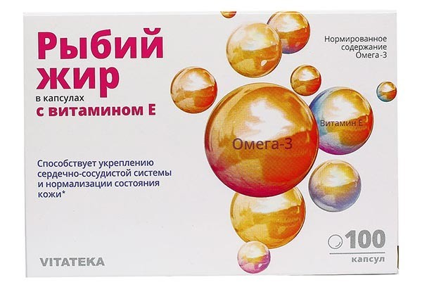 Витатека Рыбий жир с витамином Е капс 100 БАД