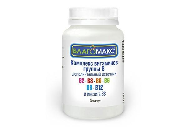 Благомакс Комплекс витаминов группы В 0,15г капс 90 БАД