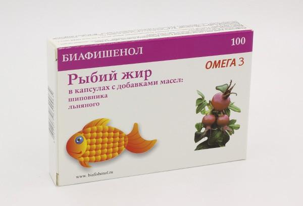 Рыбий жир Биафишенол с маслом шиповнника и льна капс 100БАД